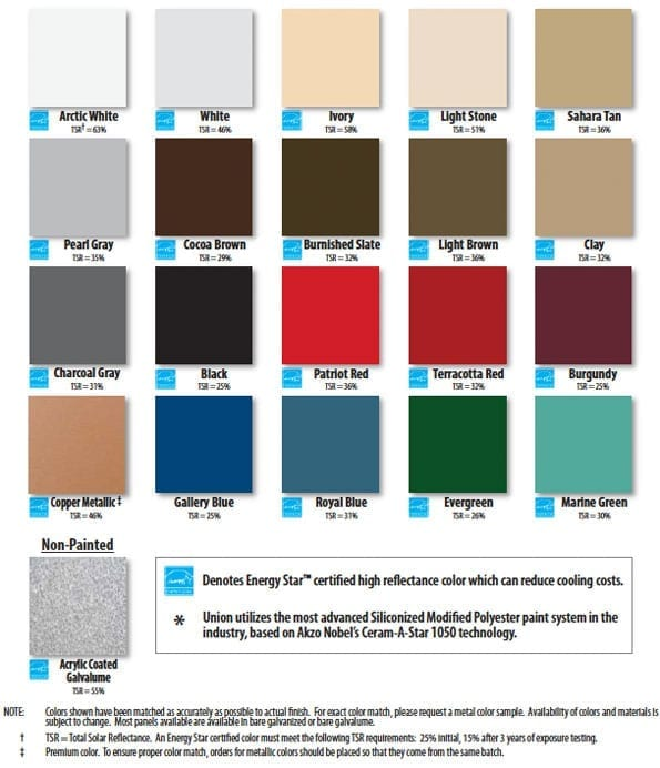 Metal Roofing Colors: Metal Roof Color Chart: Lifetime and 40 Year Series